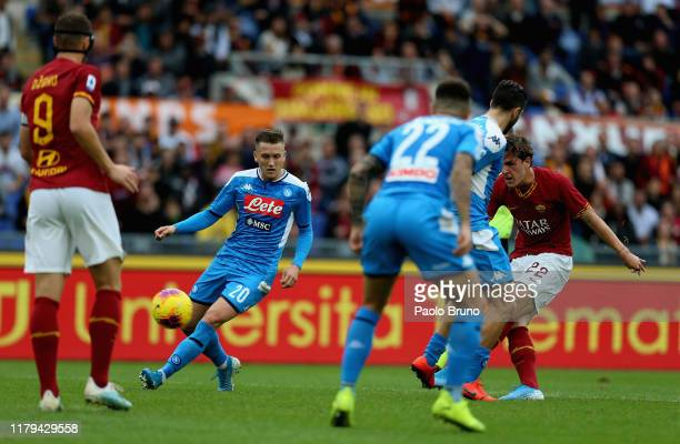 Nicolo' Zaniolo of AS Roma scores the opening goal during the Serie A match between AS Roma and SSC Napoli at Stadio Olimpico on November 2 2019 in...