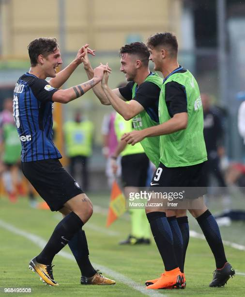 Nicolo Zaniolo of FC Internazionale celebrates with his teammate Niccolo Corrado after scoring the opening goal during the Serie A Primavera Playoff...