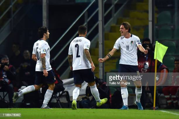 Nicolo' Zaniolo of Italy celebrates after scoring his team's second goal during the UEFA Euro 2020 Qualifier between Italy and Armenia on November 18...