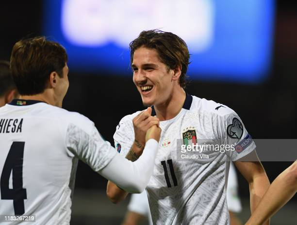Nicolo Zaniolo of Italy celebrates after scoring the goal during the UEFA Euro 2020 Qualifier between Italy and Armenia on November 18 2019 in...