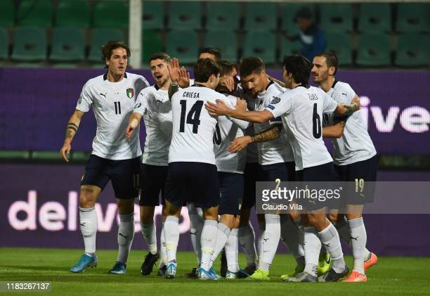 Nicolo Zaniolo of Italy celebrates with teammates after scoring the goal during the UEFA Euro 2020 Qualifier between Italy and Armenia on November 18...