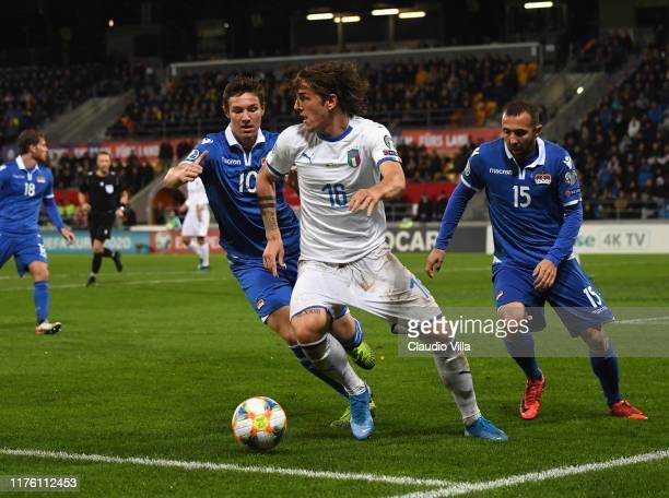 Nicolo Zaniolo of Italy in action during the UEFA Euro 2020 qualifier between Liechtenstein and Italy on October 15, 2019 in Vaduz, Liechtenstein.