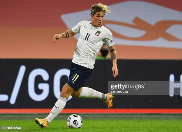 Nicolo Zaniolo of Italy in action during the UEFA Nations League group stage match between Netherlands and Italy at Johan Cruijff Arena on September...
