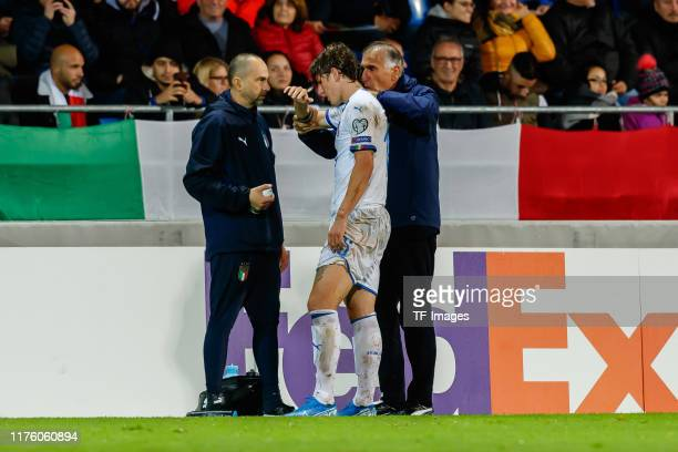 Nicolo Zaniolo of Italy injured during the UEFA Euro 2020 qualifier between Liechtenstein and Italy on October 15, 2019 in Vaduz, Liechtenstein.