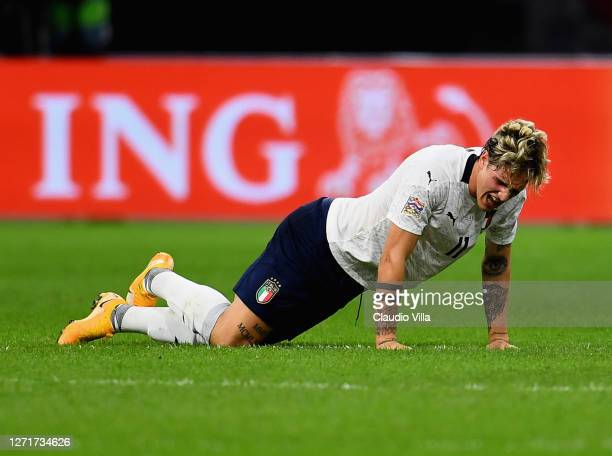 Nicolo Zaniolo of Italy injured during the UEFA Nations League group stage match between Netherlands and Italy at Johan Cruijff Arena on September 7,...