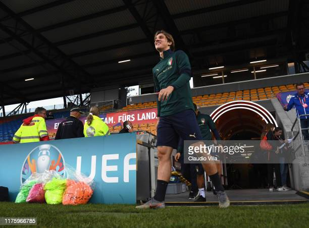 Nicolo Zaniolo of Italy looks on during a Italy training session at Rheinpark Stadion on October 14 2019 in Vaduz Liechtenstein