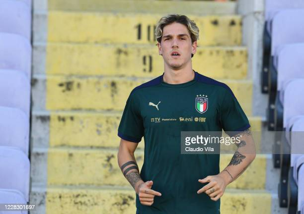 Nicolo Zaniolo of Italy looks on during a training session at Centro Tecnico Federale di Coverciano on September 1, 2020 in Florence, Italy.