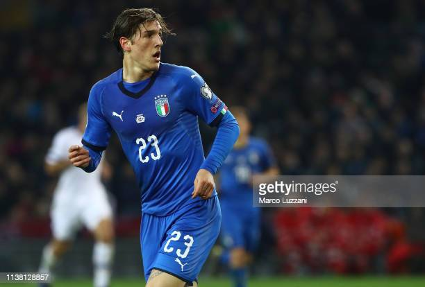 Nicolo Zaniolo of Italy looks on during the 2020 UEFA European Championships group J qualifying match between Italy and Finland at Stadio Friuli on...