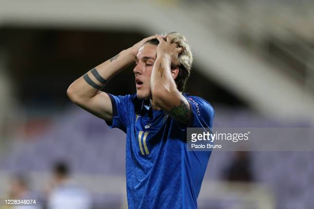 Nicolo Zaniolo of Italy reacts during the UEFA Nations League group stage match between Italy and Bosnia and Herzegovina at Artemio Franchi on...