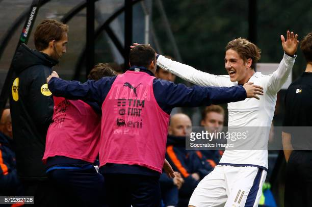Nicolo Zaniolo of Italy U19 celebrates during the match between Holland U19 v Italy U19 at the KNVB Campus on November 9, 2017 in Zeist Netherlands