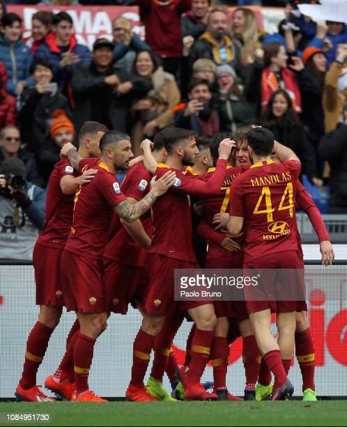 Nicolo' Zaniolo with his teammates of AS Roma celebrates after scoring the opening goal during the Serie A match between AS Roma and Torino FC at...