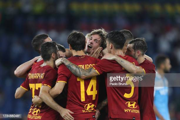Nicolo' Zaniolo with his teammates of AS Roma celebrates after scoring the team's second goal during the UEFA Conference League Play-Offs Leg Two...