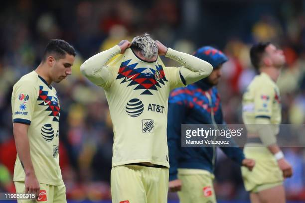 Nicolás Castillo of America reacts after his team was defeated in the Final second leg match between America and Monterrey as part of the Torneo...