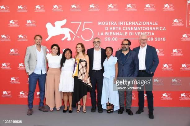 Nicolás Celis, Gabriela Rodriguez, Nancy García García, Marina de Tavira, Alfonso Cuarón, Yalitza Aparicio, guest and David Linde attend 'Roma'...