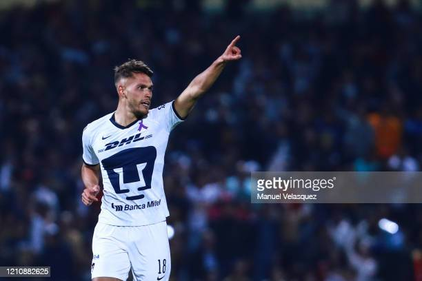 Nicolás Freire of Pumas celebrates after scoring the first goal of his team during the 9th round match between Pumas UNAM and America as part of the...