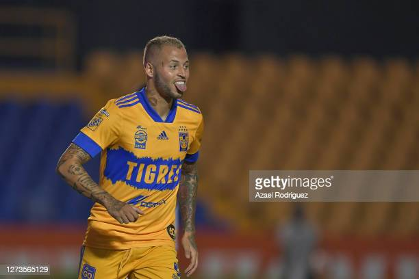 Nicolás López of Tigres celebrates after scoring his team's third goal during the 11th round match between Tigres UANL and Queretaro as part of the...