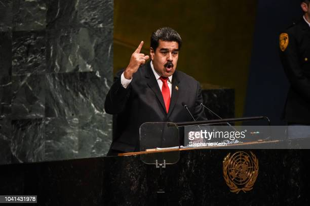 Nicolás Maduro President of Venezuela delivers a speech at the United Nations during the United Nations General Assembly on September 26 2018 in New...