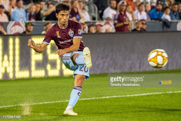 Nicolás Mezquida of the Colorado Rapids attempts a pass against FC Dallas at Dick's Sporting Goods Park on September 29 2019 in Commerce City Colorado