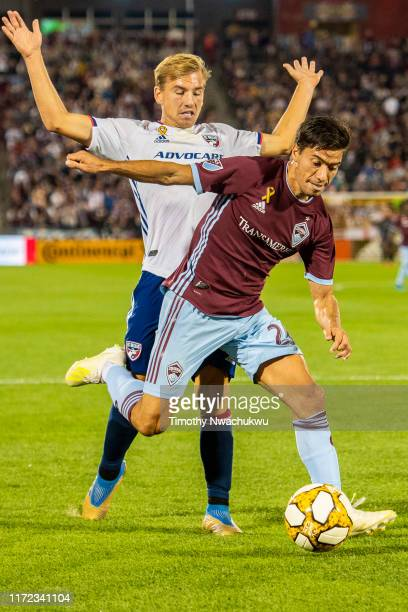 Nicolás Mezquida of the Colorado Rapids dribbles past Paxton Pomykal of FC Dallas at Dick's Sporting Goods Park on September 29 2019 in Commerce City...