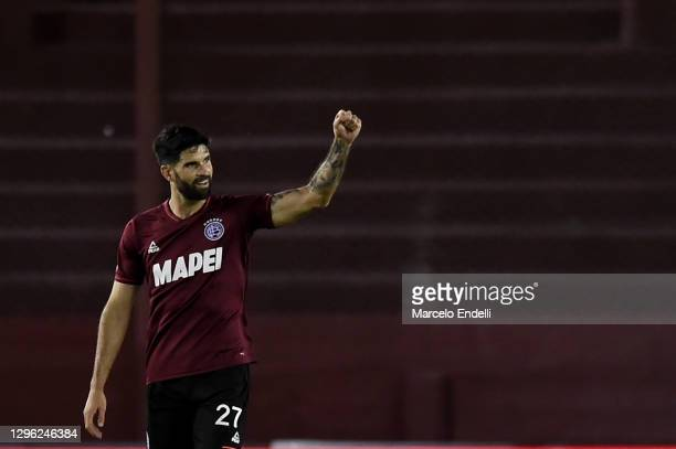 Nicolás Orsini of Lanus celebrates after scoring the second goal of his team during a semifinal second leg match between Lanus and Velez as part of...