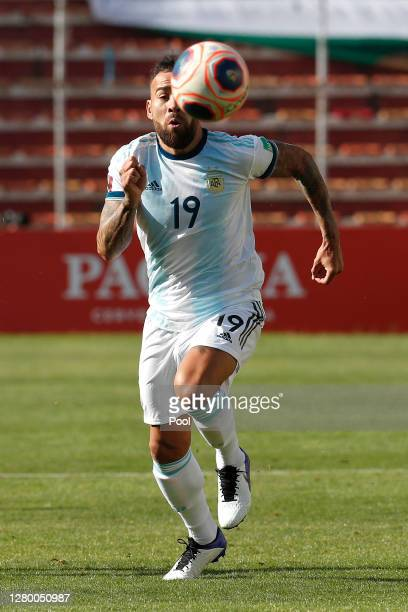 Nicolás Otamendi of Argentina runs for the ball during a match between Bolivia and Argentina as part of South American Qualifiers for Qatar 2022 at...