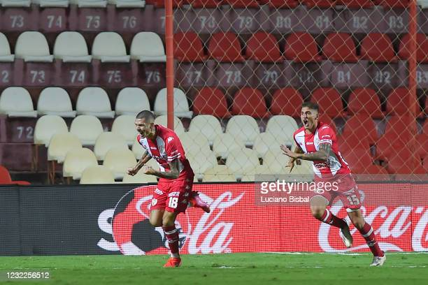 Nicolás Peñailillo of Unión celebrates after scoring his team's first goal during a match between Union and Boca Juniors as part of Copa de la Liga...