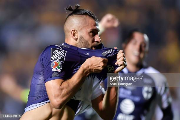 Nicolás Sánchez, #4 of Monterrey, celebrates after scoring his team's first goal during the final first leg match between Tigres UANL and Monterrey...