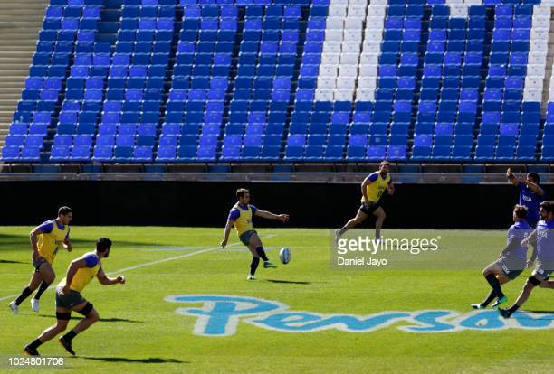 Nicolás Sánchez of Argentina kicks the ball during Argentina Captain's Run before the The Rugby Championship 2018 match against South Africa at...