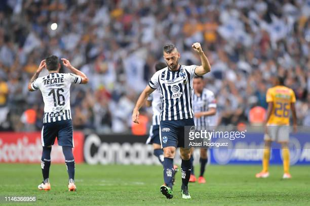 Nicolás Sánchez of Monterrey celebrates after scoring his team's first goal via penalty during the final second leg match between Monterrey and...