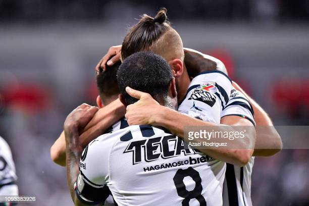 Nicolás Sánchez of Monterrey celebrates with teammates after scoring his team's second goal during the 2nd round match between Monterrey and Leon as...
