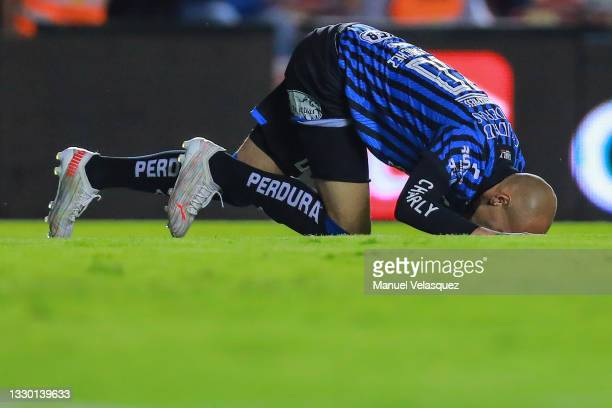 Nicolás Sosa of Querétaro gestures after missing a chance of goal during the 1st round match between Queretaro and America as part of the Torneo...