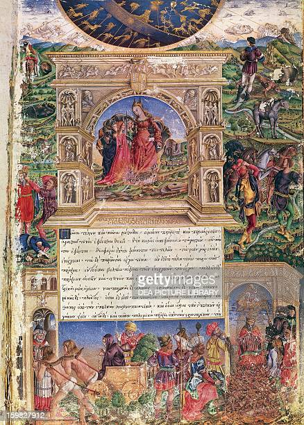 Nicomachean Ethics Book I collection of the lessons of Aristotle title page for the 15th century manuscript Vienna Österreichische Nationalbibliothek