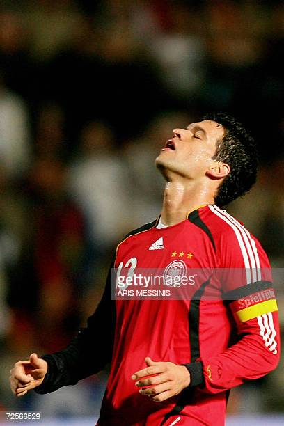 Germany's captain Michael Ballack reacts after missing a chance to score against Cyprus during their group D Euro 2008 qualification football game in...