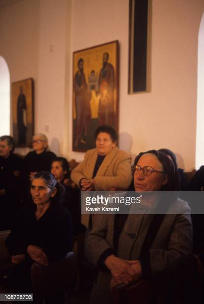 Typical Greek Cypriot women pray in a church on the suburbs of Nicosia, Cyprus, 21st November 1989. The island has remained partitioned since the...