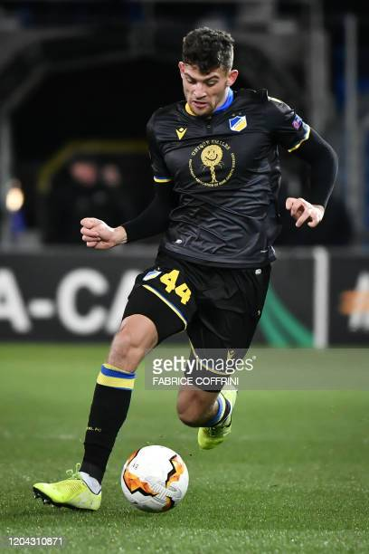 Nicosia's Cypriot defender Nicholas Ioannou controls the ball during the UEFA Europa League Last 32 Second Leg football match between FC Basel and...