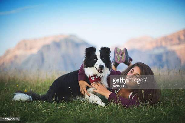 nicxe girl with her cute dog - border collie stock pictures, royalty-free photos & images