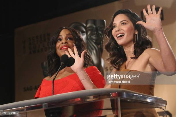 Niecy Nash and Olivia Munn attend the 24th Annual SAG Awards Nominations Announcement at SilverScreen Theater at the Pacific Design Center on...