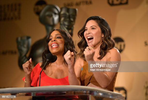 Niecy Nash and Olivia Munn speak onstage during the 24th Annual SAG Awards Nominations Announcement at SilverScreen Theater at the Pacific Design...