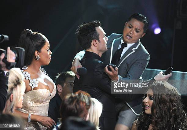 """Niecy Nash, Cheyenne Jackson, and Alec Mapa speak onstage during Logo's 3rd annual """"NewNowNext Awards"""" held at The Edison on June 8, 2010 in Los..."""