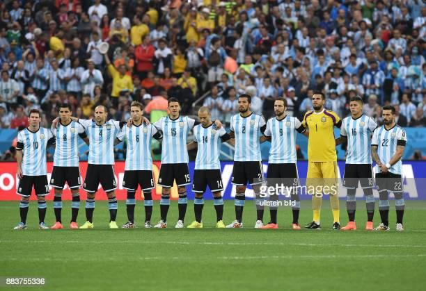 FUSSBALL Niederlande Argentinien Die Argentinier Lionel Messi Enzo Perez Pablo Zabaleta Lucas Biglia Mart'n Demichelis Javier Mascherano Ezequiel...