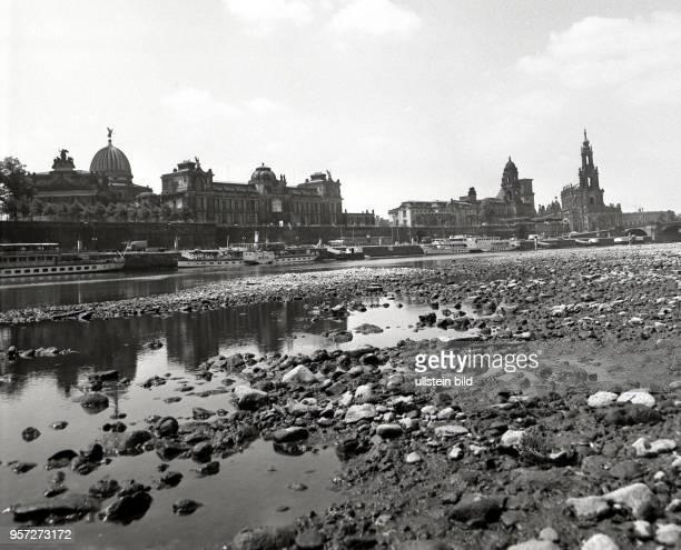 Niedrigwasser der Elbe verhindert in Dresden im Juni 1976 die Schifffahrt. Die Weiße Flotte kann nicht mit den Dampfschiffen in Richtung Sächsische...