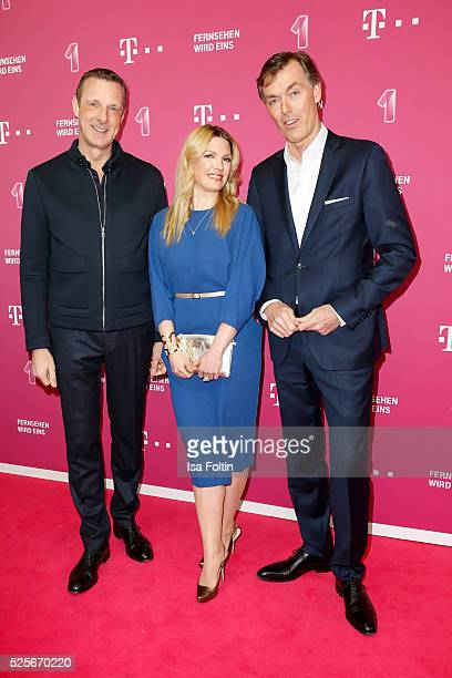 Niek Jan van Damme manager Telekom Germany sky sports moderator Jessica Kastrop and Michael Hagsphil CEO Telekom private customers attend the Telekom...