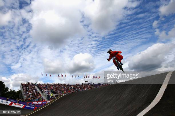 Niek Kimmann of Netherlands competes in Heat 1 of the Men's Semi Final during the BMX on Day Ten of the European Championships Glasgow 2018 on August...