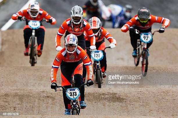 Niek Kimmann of Netherlands, leads Jelle Van Gorkom, Raymon Van Der Biezen, Martijn Jaspers and Twan Van Gendt, all of the Netherlands as they...