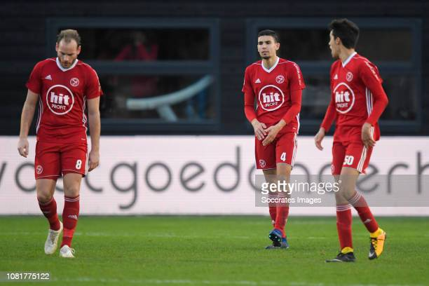 Niek Vossebelt of Almere City Faris Hammouti of Almere City Anwar Bensabouh of Almere City during the Dutch Keuken Kampioen Divisie match between...
