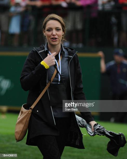 Nieke Coetzee girlfriend of Branden Grace of the International Team on the first hole during the Final Round Singles Matches of The Presidents Cup at...