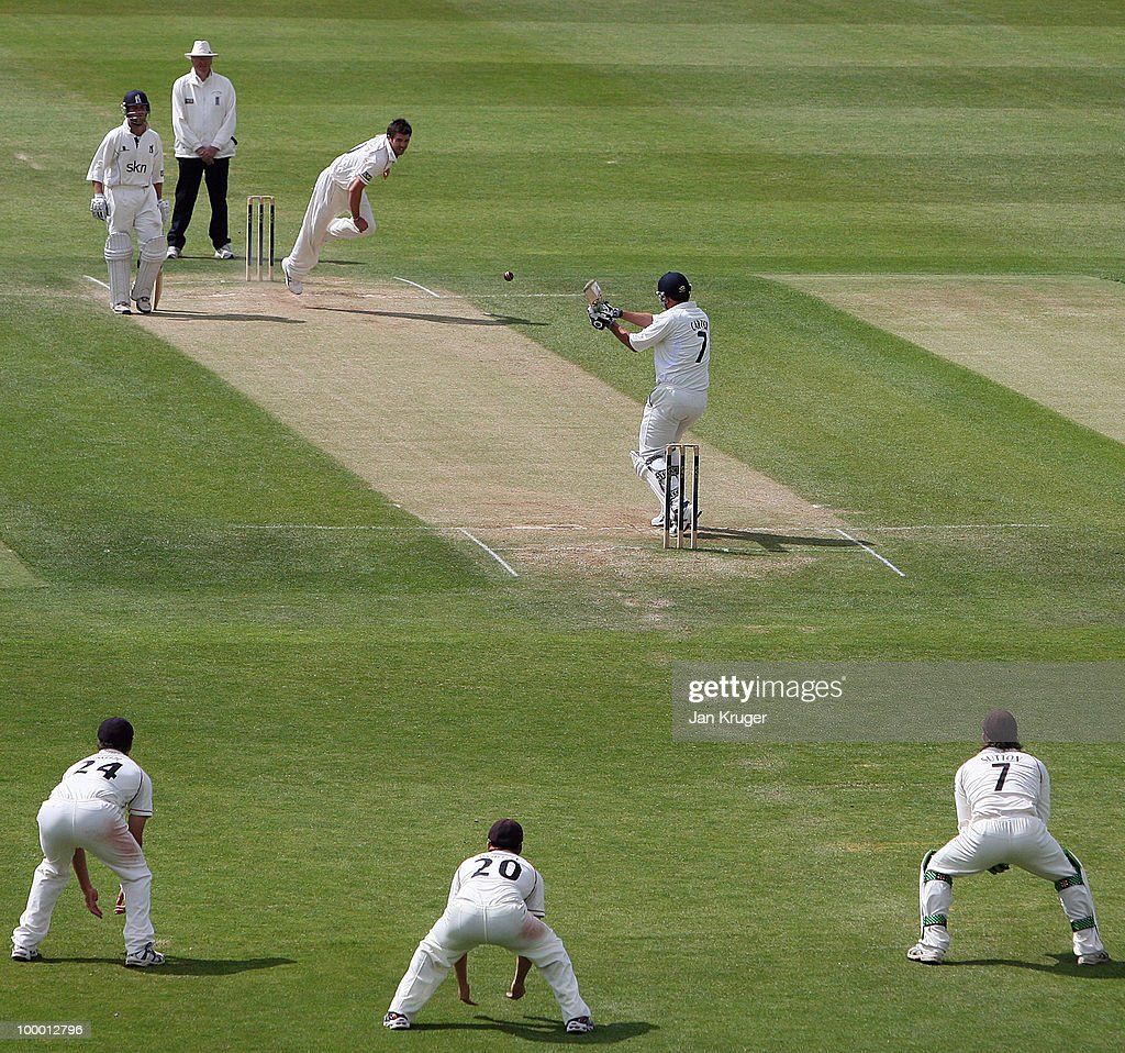 Niel Carter of Warwickshire pulls at a short delivery from James Anderson of Lancashire during the LV County Championship Division One match between Warwickshire and Lancashire at Edgbaston on May 20, 2010 in Birmingham, England.