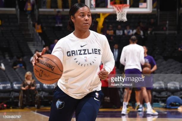 Niel Ivey of the Memphis Grizzlies warms up with players before the game against the Los Angeles Lakers on February 21 2020 at STAPLES Center in Los...