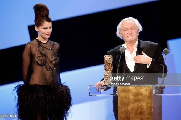 Niels Arelstrup reacts after he received Best Supporting Actor Cesar Award during the 35th Cesar Film Awards held at Theatre du Chatelet on February...