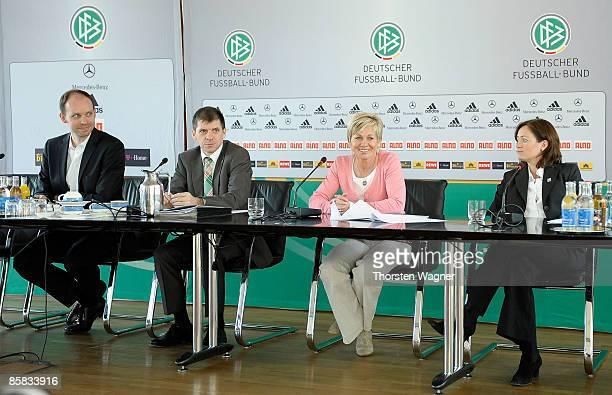 Niels Barnhoffer media director of German women national football team Willi Hink director of German Football association Silvia Neid head coach of...